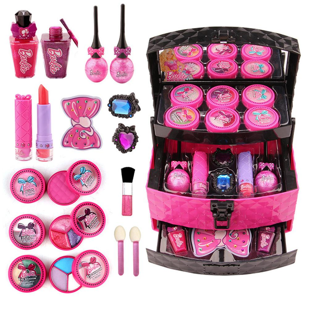 Children Makeup Toy Set Multilayer Cosmetic Case Girls Nontoxic Safe Lipstick Eyeshadow Makeup Kit Pretend Play Makeup Toys