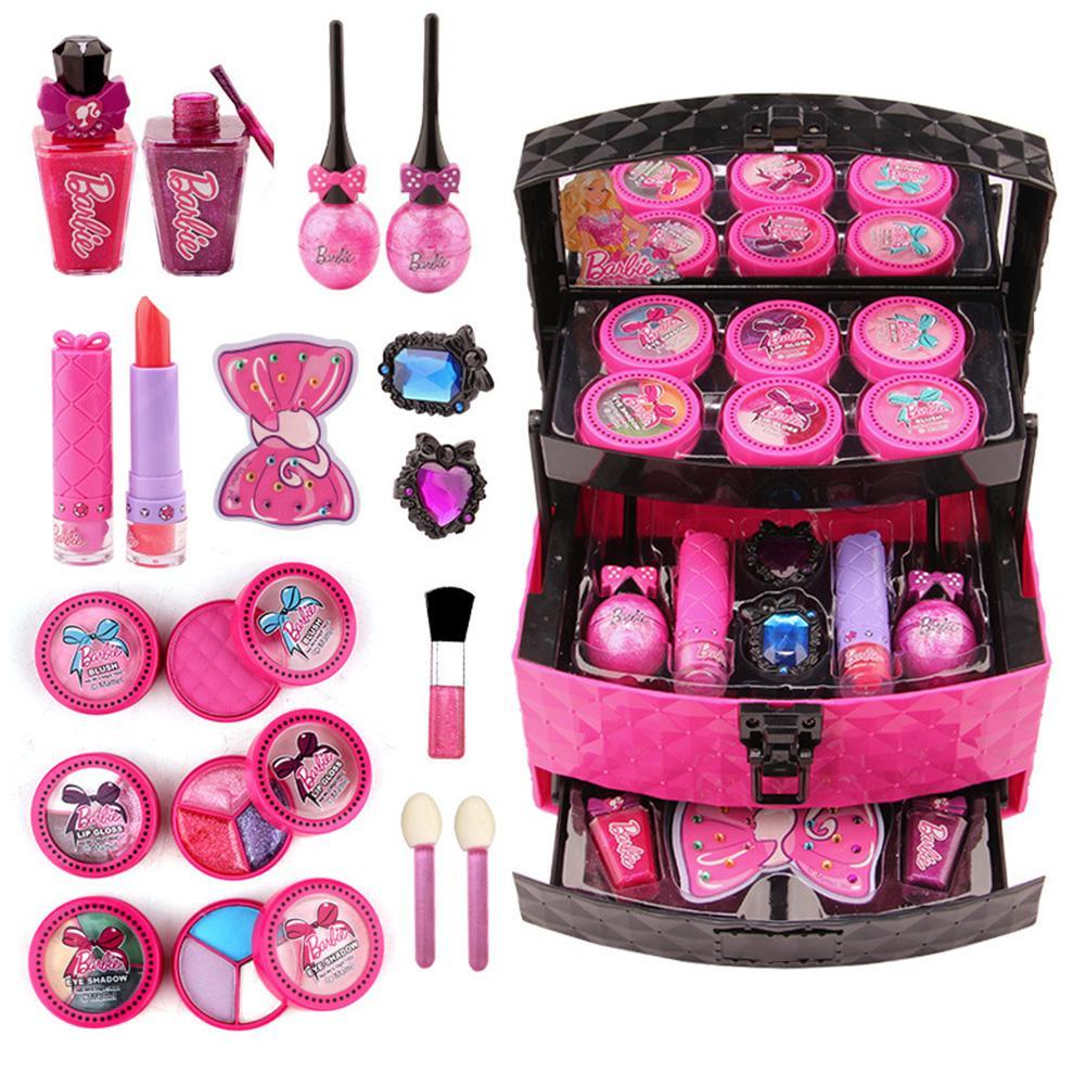 Children Makeup Toy Set Multilayer Cosmetic Case Girls Nontoxic Safe Lipstick Eyeshadow Makeup Kit Pretend Play Makeup Toys
