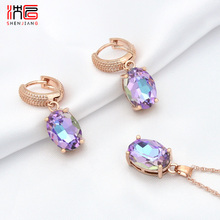 SHENJIANG New Fine 585 Rose Gold Oval Egg Shape Crystal Dangle Earrings Jewelry Set For Women Wedding Party Fashion Jewelry