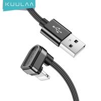 KUULAA Nylon Cable USB para Cable de iPhone 11 XS Max XR 8X6 7 además de 6S 5 5 S iPad mini 4 180 grado rápido Cables de carga móvil