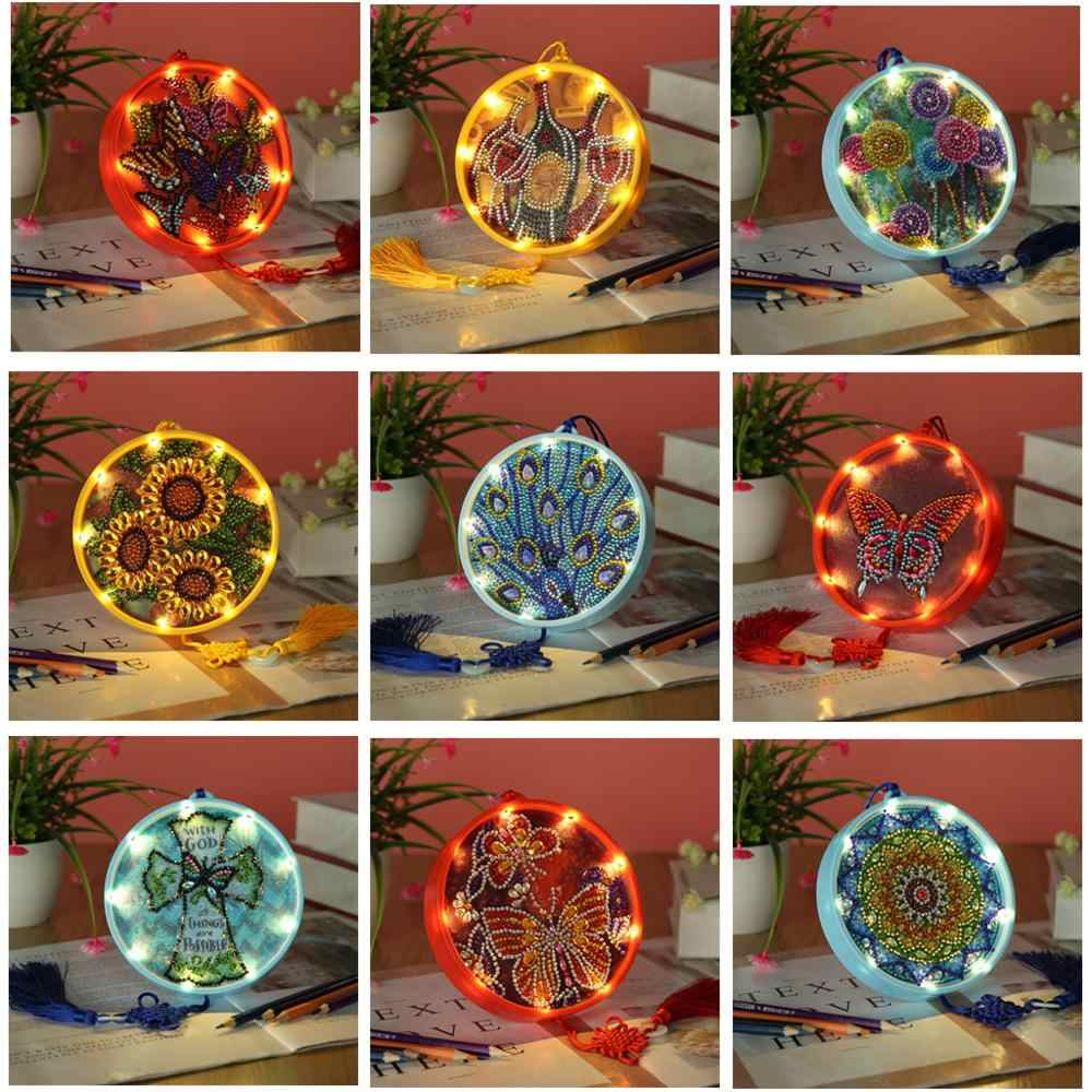 DIY Diamond Painting LED Light Special Shaped Drill Embroidery Night Lamp Crafts