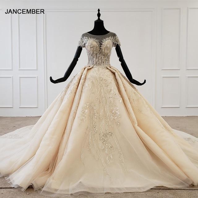 HTL1107 boncuk gelin elbise gelinlik şampanya o boyun payetli püskül kristal korse düğün elbisesi kapaklı kollu suknie slubne