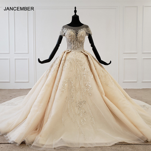 Image 1 - Htl1107 grânulo vestido de noiva vestido de casamento champanhe o pescoço lantejoulas borla cristal espartilho vestido de casamento tampado manga suknie slubne