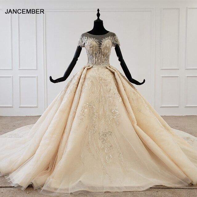 Htl1107 grânulo vestido de noiva vestido de casamento champanhe o pescoço lantejoulas borla cristal espartilho vestido de casamento tampado manga suknie slubne