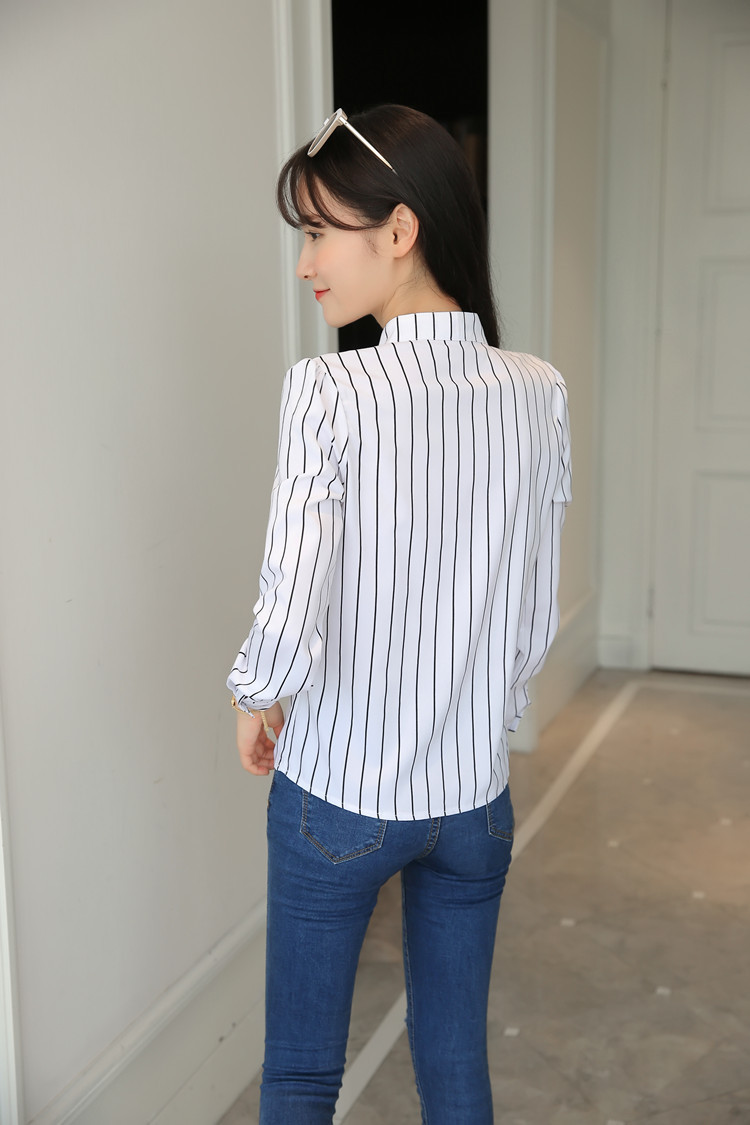 H77fa0a859f9b4eacbb995ef3ef6de031X - Women Fashion White Tops and Blouses Stripe Print Design Casual Long Sleeve Office Lady Work Formal Shirts Female Plus Size