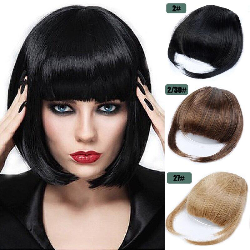 Короткие прямые передние волосы, аккуратные челки с зажимом, челка для наращивания, шиньон, синтетические натуральные накладные челки