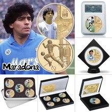 1960-2020 rip diego maradona banhado a ouro moeda comemorativa conjunto com titular da moeda futebol desafio moedas lembrança presente para ele