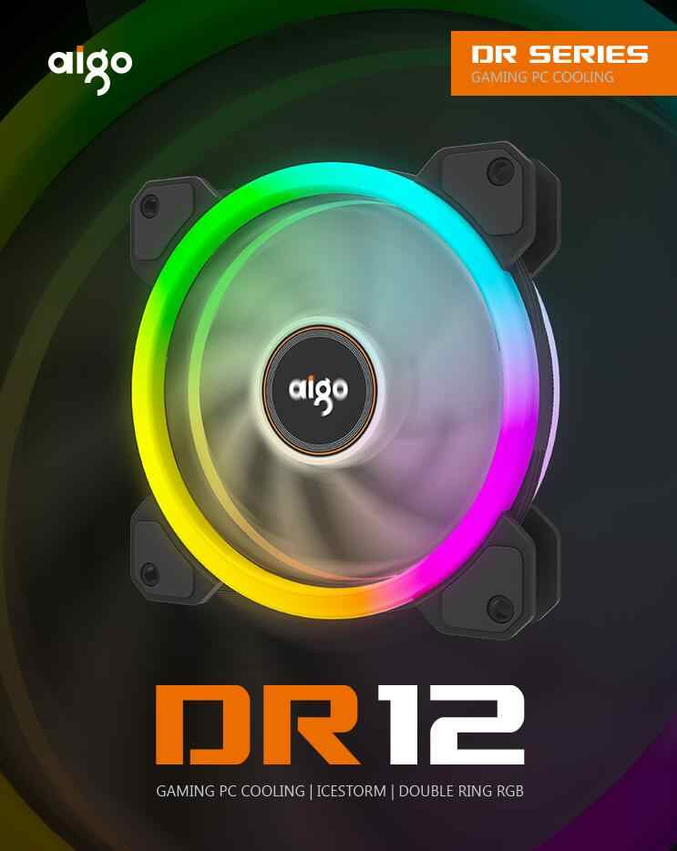 Aigo DR12 더블 RGB Aura Pc 팬 12v 4 핀 120mm 냉각 팬 컴퓨터 자동 게임 케이스 쿨러 팬 컨트롤러 am3 am4