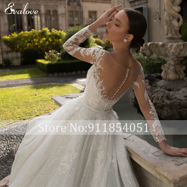 EVALOVE Glamorous Lace Appliques Detachable Train Mermaid Wedding Dress Luxury Scoop Neck Beaded Long Sleeve Trumpet Bridal Gown 6