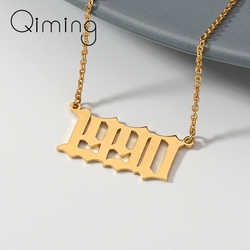 Handmade Date Year Number Necklace Women Men The Shape of 1990 1996 1998 1994 Pendant Necklaces Collares