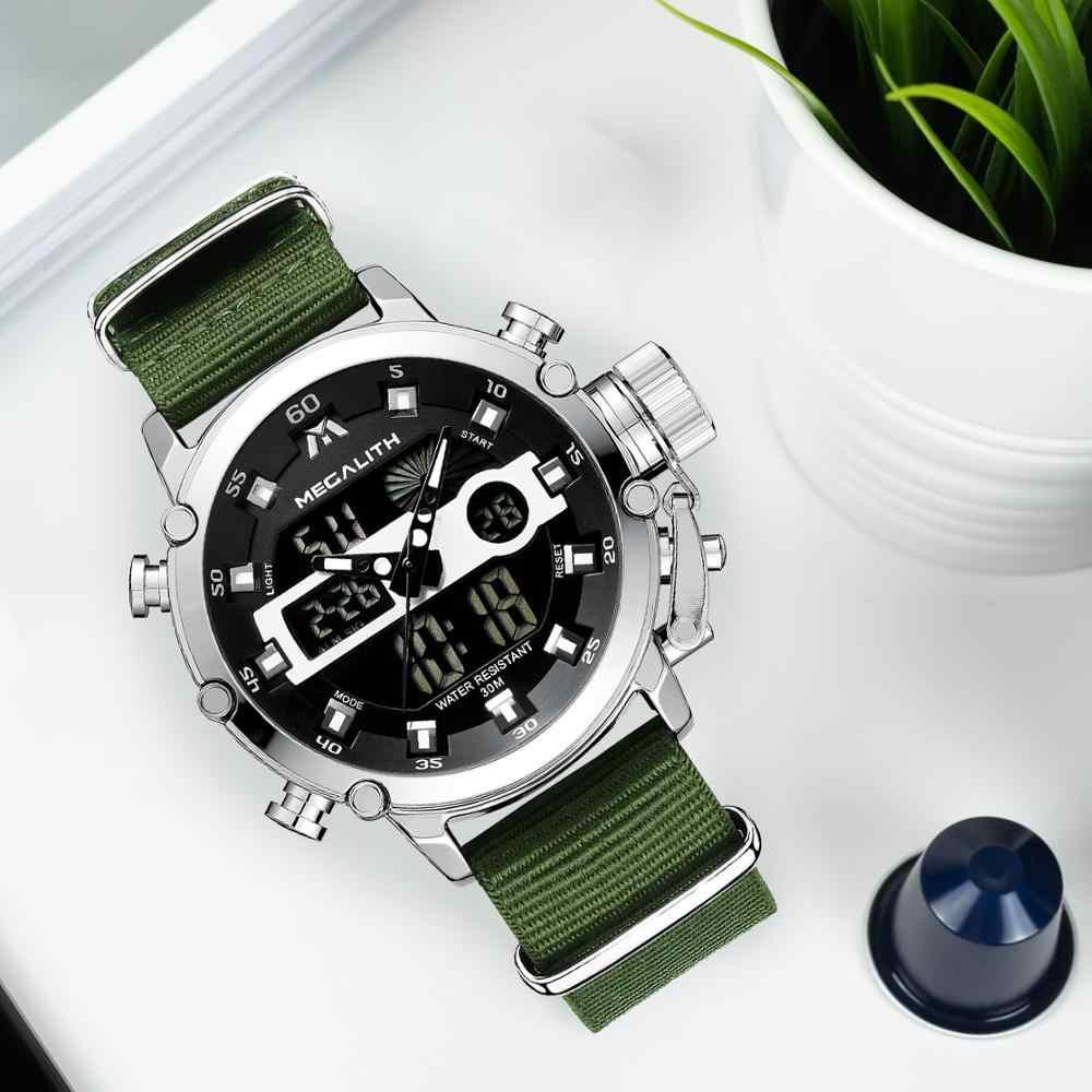 Relogio Masculino MEGALITH Sport étanche montres hommes lumineux double affichage alarme haut marque de luxe montre à Quartz en gros 8051