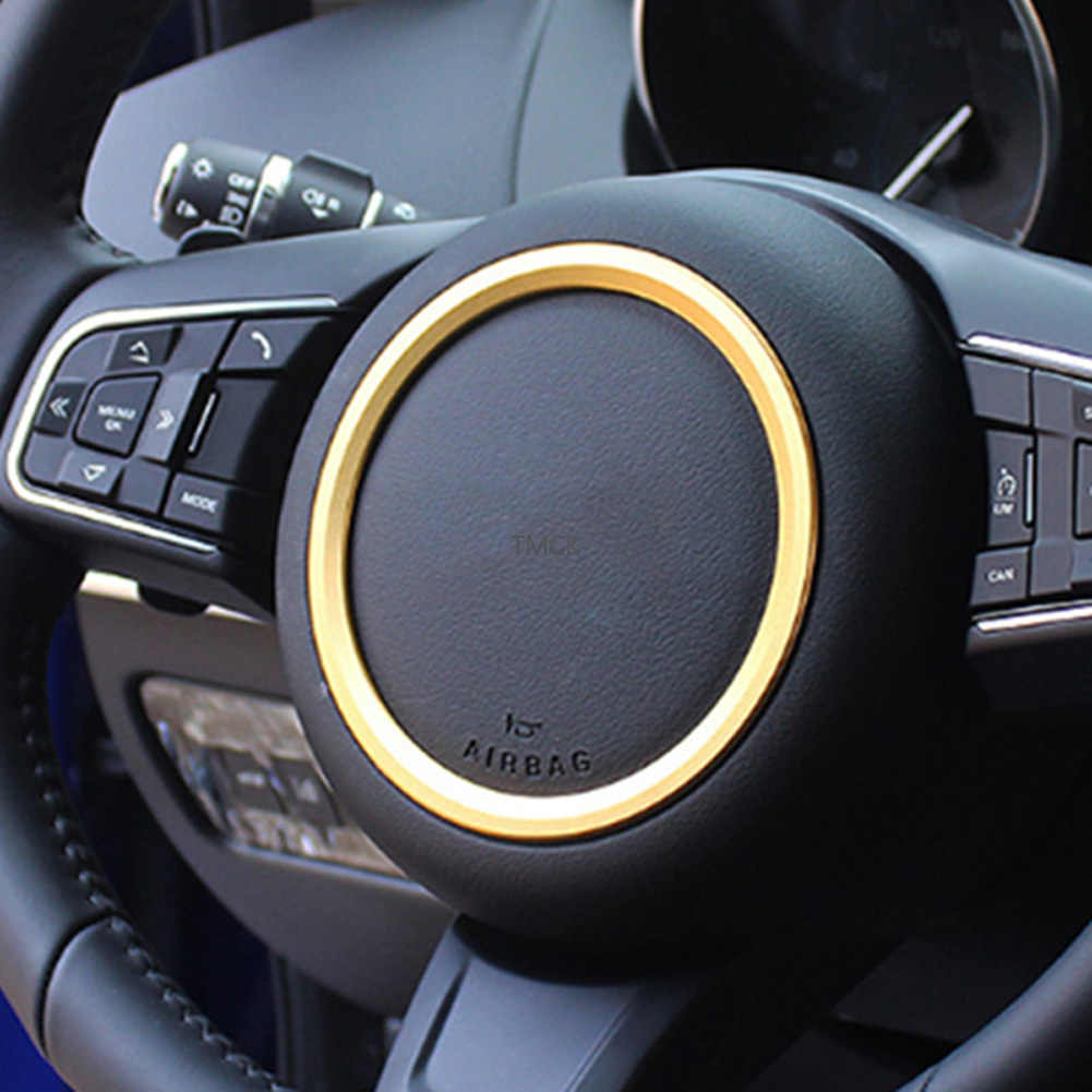 Senmubery ABS Chrome Car Steering Wheel Decoration Ring Sticker Trim Strips for XE X760 XF X260 F-Pace F Pace X761 E-PACE Silver