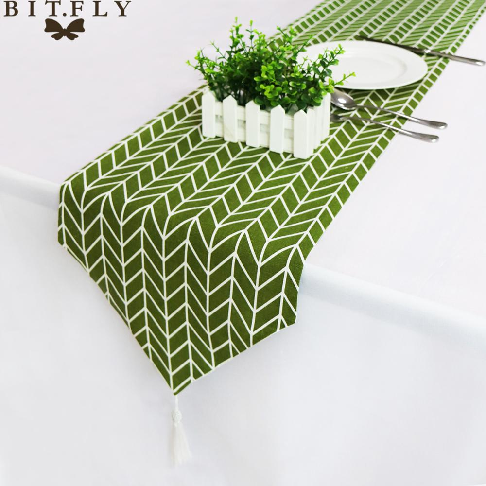 33cm*180/210/250 Cm 3 Size Table Runner Modern Green Tree  Christmas Party Wedding Decor Crafts Linen Cotton Table Runner