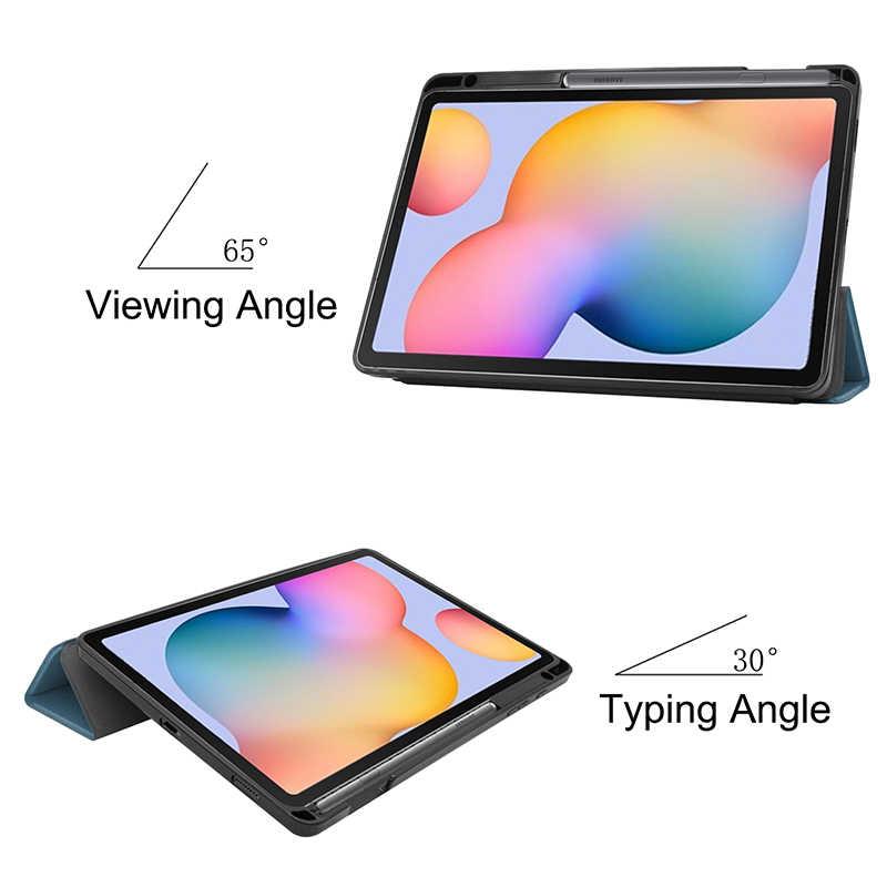 Shock PROOF Case สำหรับ Samsung Galaxy Tab S6 Lite ดินสอสล็อต s6lite 10.4 นิ้ว SM-P610 P615 P617 ขาตั้งผู้ถือ
