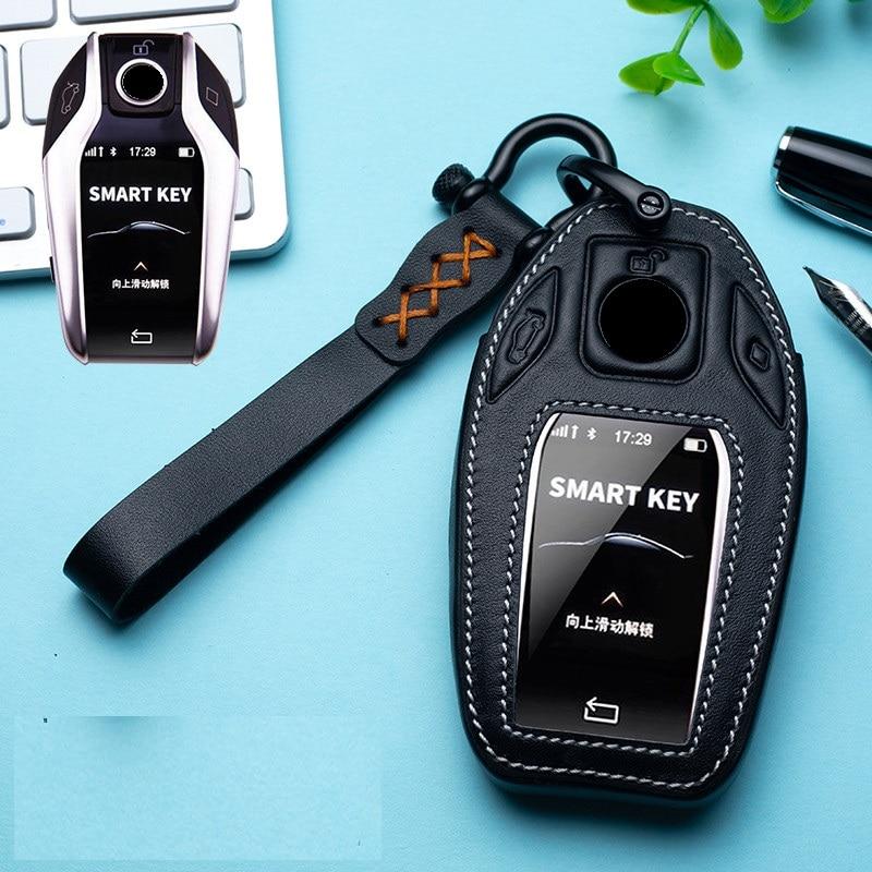 Car Genuine Leather Car LED Display Key Cover Case for BMW 5 7 series G11 G12 G30 G31 G32 i8 I12 I15 G01 X3 G02 X4 G05 X5 G07 X7