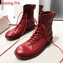Boots Lace-Up Low-Heel Western Round-Toe Winter Genuine-Leather Mid-Calf L89 Krazing-Pot