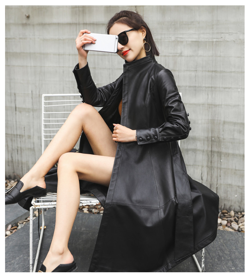 Genuine Women 2020 Leather Jacket Sheepskin Coat Female Windbreaker Trench Coats Women's Jackets Jaqueta De Couro WXF279 S 's S