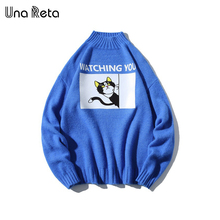 Una Reta Turtleneck Men Sweater New Autumn Winter Print Cat Pullover Mens Sweater Pull Homme Casual Loose Sweater Men