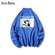 Una Reta sweter męski z golfem nowy jesienno zimowy nadruk z kotem sweter męski sweter Pull Homme Casual luźny sweter męski