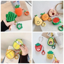 For AirPods Case Cute Cartoon Carrot Cactus Earphone Cases For Apple Airpods 2 Funny Protect Cover with Finger Ring Strap