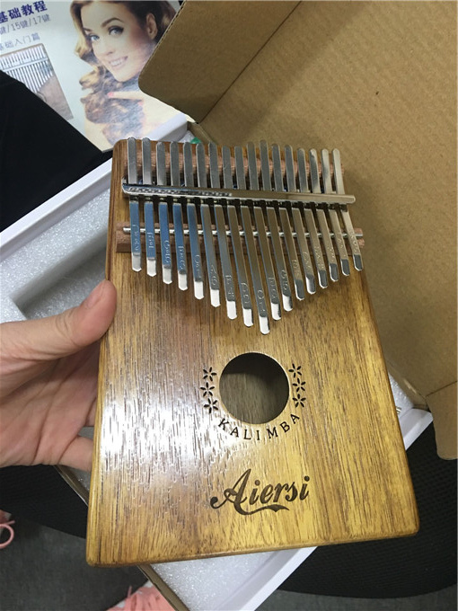 Solid Koa 17 Keys Kalimba Thumb Piano Musical Instrument With Learning Book Tune Hammer-in Piano from Sports & Entertainment