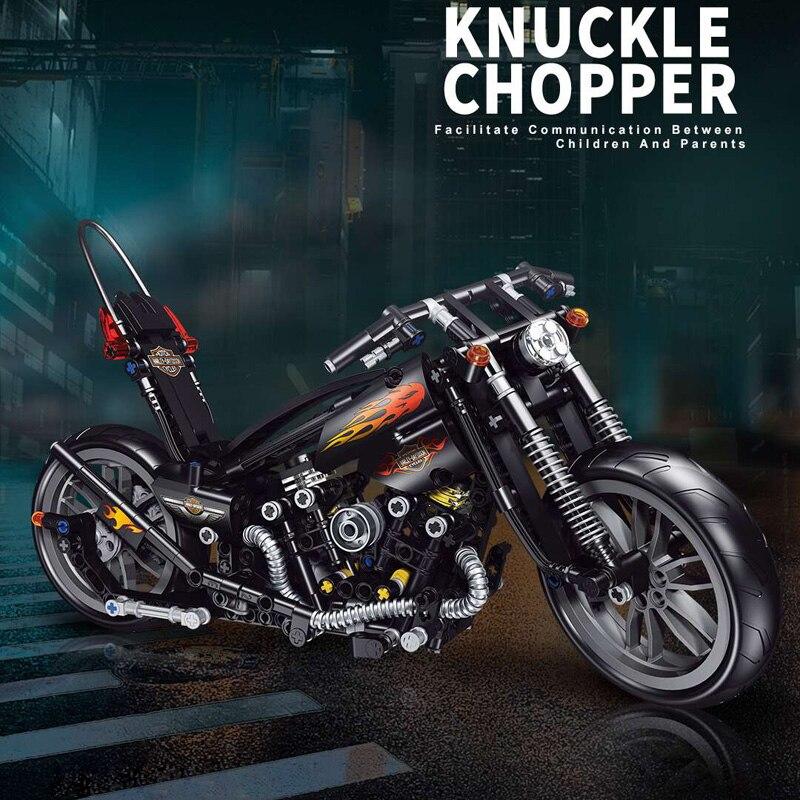 Конструктор «мотоцикл» для мальчиков, технический эксперт в сфере строительных блоков, классический мотоцикл, подарок