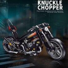 Novos blocos técnicas motocicleta criador especialista blocos de construção da cidade brinquedos para crianças meninos clássico motocicleta presente