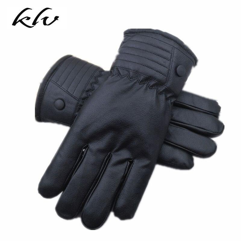 Men Sheepskin Gloves Leather Glove For Men Winter Outdoor Warm Thickening Thermal Patchwork Gloves