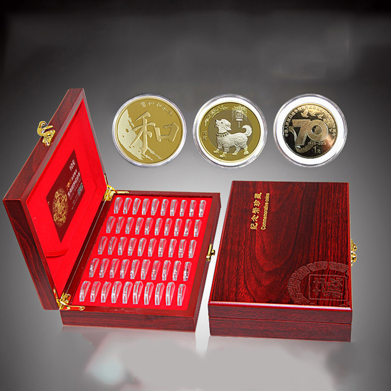 Wooden Coins Display Storage Box Case+100 Grids Round Slab For Certified Coin