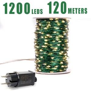 Image 1 - Cable verde 1000 luces de cadena LED 100m luces navideñas al aire libre guirnalda de árbol impermeable decoración de vacaciones de Navidad