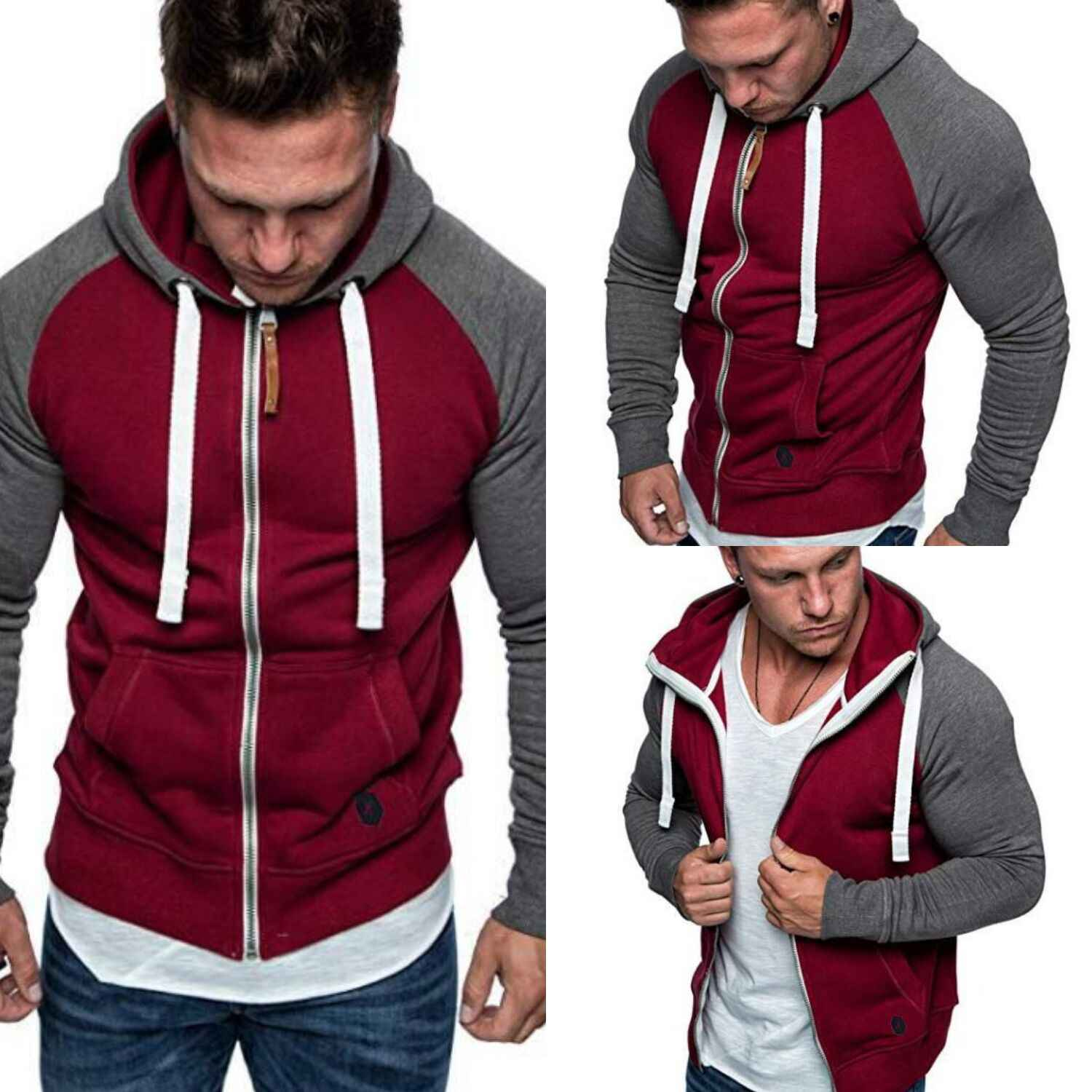 Herfst Winter Fleece Hoodies Mannen Sweatshirts Rits Fitness Hoody Jassen Voor Mannen Vesten Plus Size 3XL