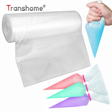Transhome Pastry Bag 50pcs/roll Transparent Disposable Tear-away Thicken Icing Piping Cake BagFondant Cake Decorating Pastry Tip