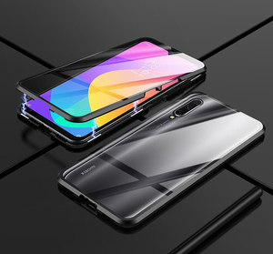Image 2 - Double Tempered Glass Protective Case For Xiaomi Mi A3 10 9 Lite CC9 Mi9T Pro Metal Magnet 360 Full Transparent Glass Case Cover