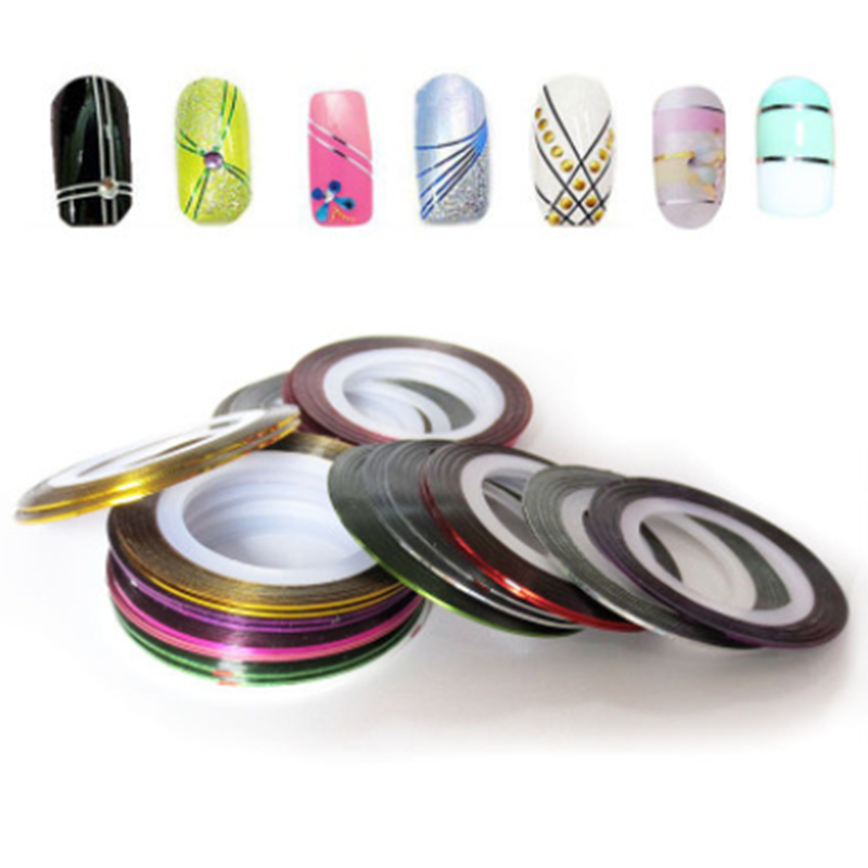 Hot Sale Colorful  Nail Striping Tape Line 3D Nail Art Decoration DIY Nail Stickers Adhesive Decals Nail Art Tips Manicure Kit