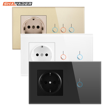 Light Switch Tempered Glass Touch Panel 1/2/3 Gang Modular EU Plug Socket 146 Lamp Conjoined Electric Outlets for Office Home