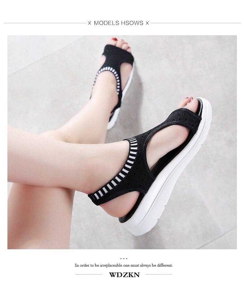 H77fc4808d2e04609a9f4a7ad7c4ae239l WDZKN 2019 Sandals Women Summer Shoes Peep Toe Casual Flat Sandals Ladies Breathable Air Mesh Women Platform Sandals Sandalias