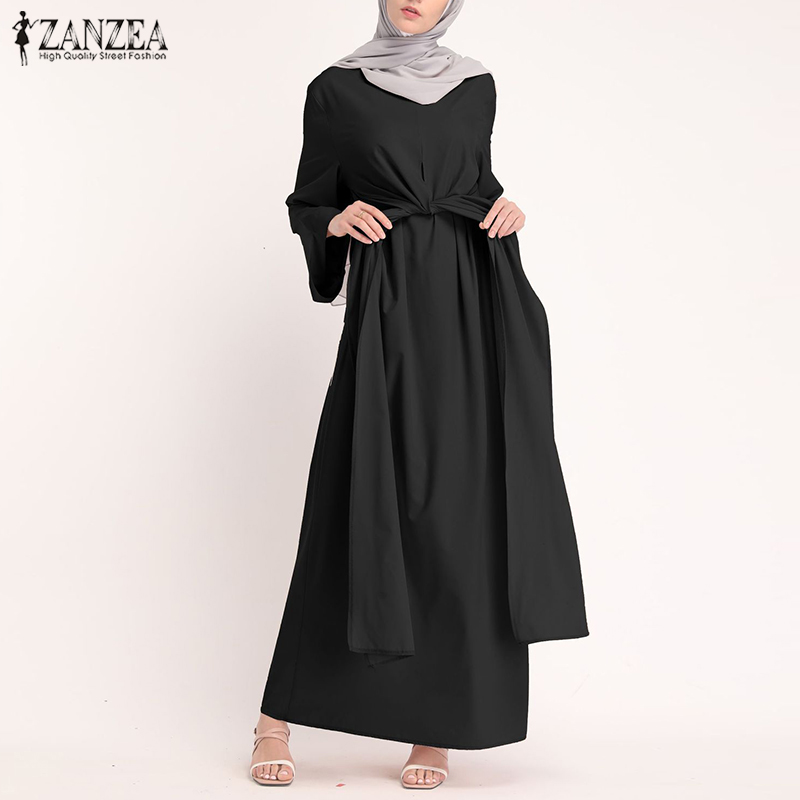 ZANZEA Muslim Dresses Eid Mubarak Kaftan Dubai Abaya Turkey Fashion Hijab Dress Islam Clothing Maxi Sundress For Women Vestidos 3