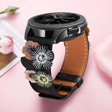 Flower Genuine Leather Watchband 20mm for Samsung Galaxy Watch 42mm/Active/ Active 2 40mm 44mm /Gear Sport/S2 Classic Band Strap