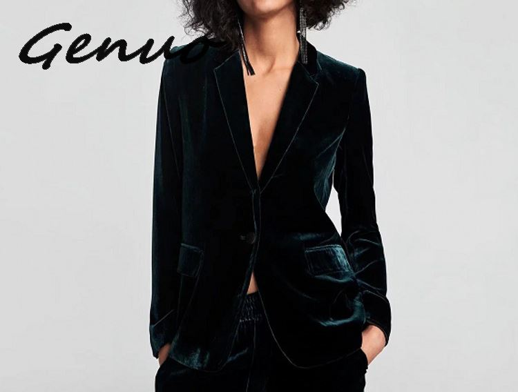 Chic Dark Green Velvet OL Single Button Velvet Blazer Woman Suits Double Pockets Turn Down Collar V-Neck Jacket Notched Tops