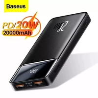 Baseus 20000mAh Power Bank Portable Charger for iPhone External Battery PD Quick Charger Powerbank For Phone Xiaomi Poverban