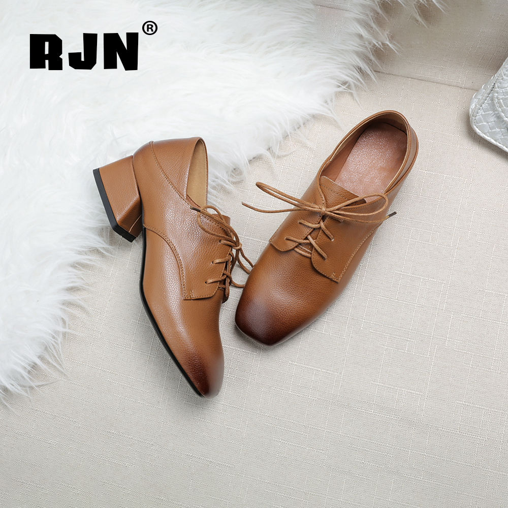 New RJN Elegant Women Pumps High Quality Cow Leather Comfortable Square Toe Med Heel Lace-Up Stylish Ladies Cow Muscle Shoes RO33
