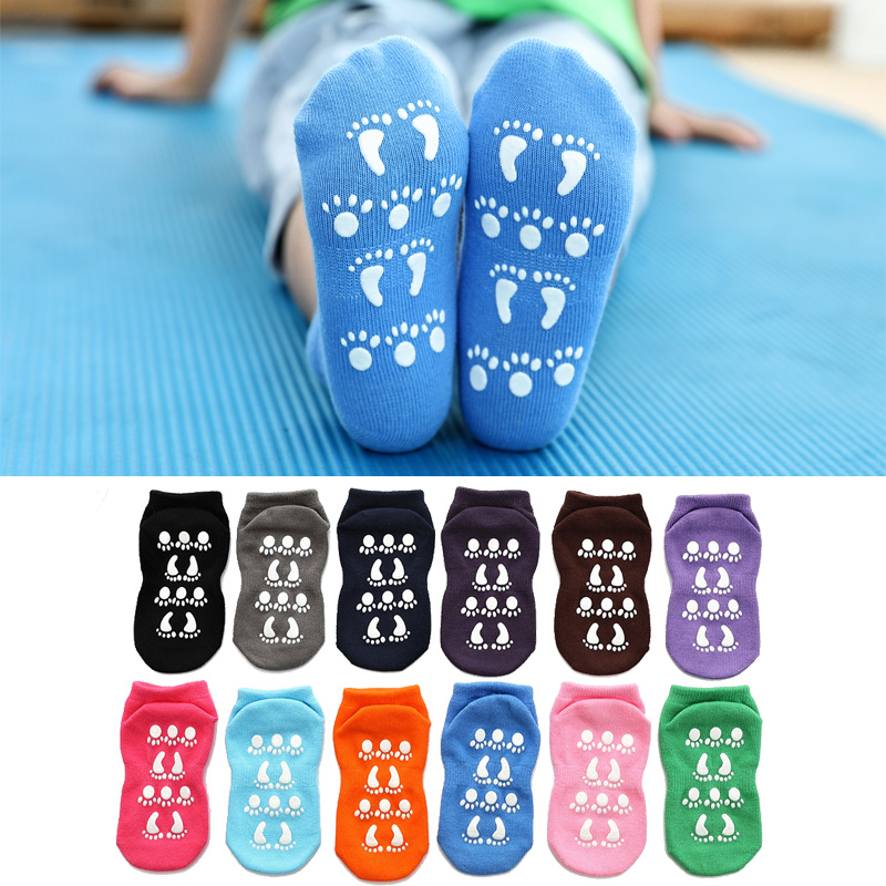 Cotton Warm Baby Socks Autumn Winter Children Candy Color Sock Boys Girls Floor Wear Anti Slip Rubber Sole Socks