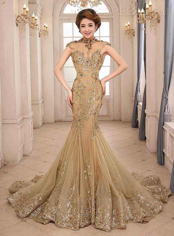 Vestido De Festa 2018 Long Gold Mermaid Evening New High Neck Appliques Lace Prom Gown Open Back Mother Of The Bride Dresses