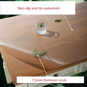Image 3 - גבוהה כיתה חסר ריח רך זכוכית פלסטיק PVC עמיד למים מפת שולחן 1.5mm לשפשף החלקה שולחן מחצלת המפלגה שולחן קישוט אישית