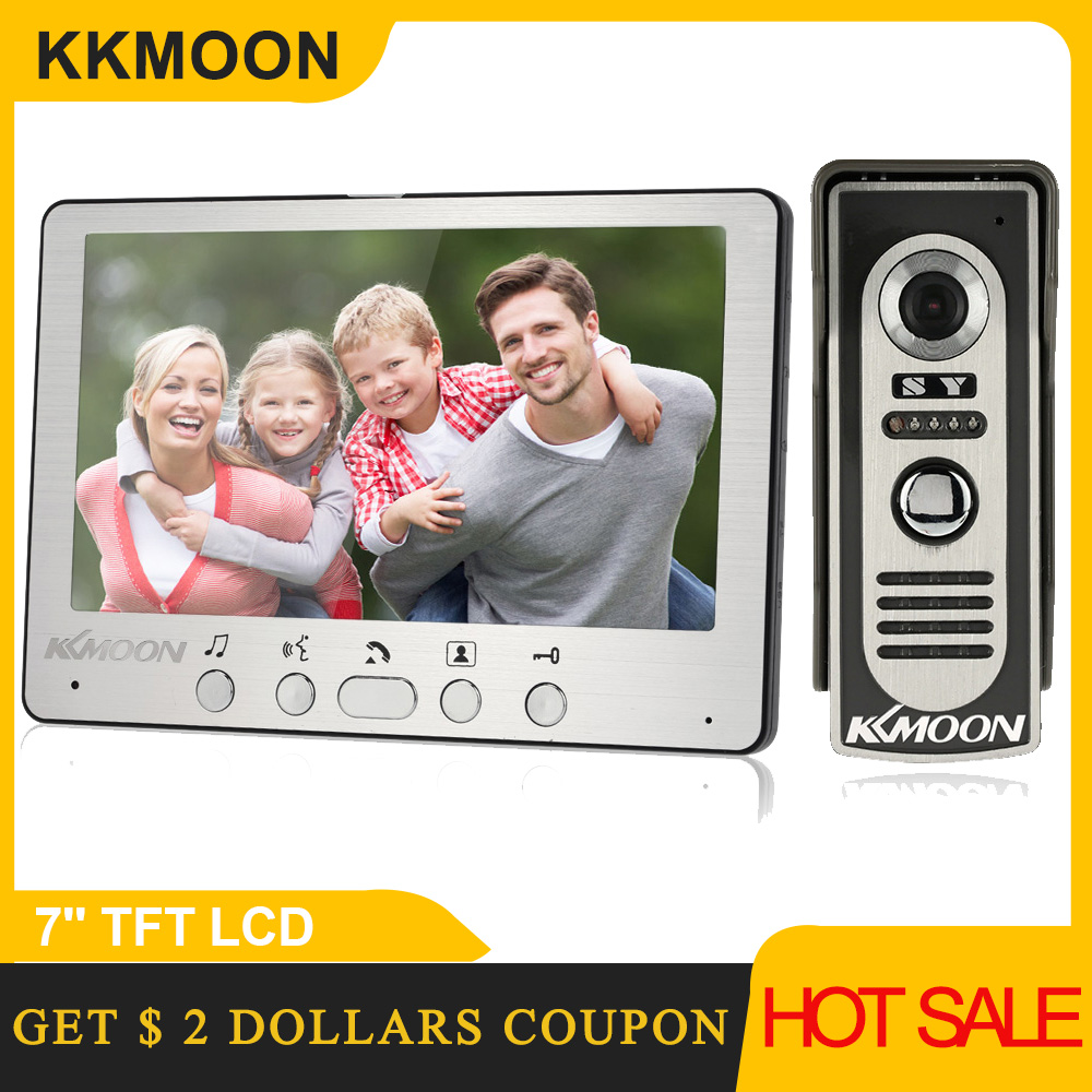 KKmoon 7 ''TFT LCD cableado de vídeo puerta teléfono Visual Video intercomunicador Speakerphone sistema de intercomunicación con cámara IR al aire libre impermeable