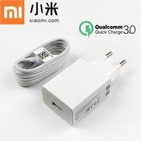 Cep telefonları ve Telekomünikasyon Ürünleri'ten Cep Telefonu Şarj Cihazları'de Orijinal Xiaomi şarj QC 3.0 hızlı şarj seyahat adaptörü Usb tipi C kablosu için mi 8 9 se 9 T pro cc9 A3 max 3 redmi note 7 8 pro