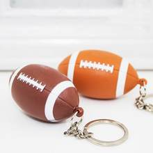 Funny Rugby Pendant Keychain with LED Light Sound Key Ring Holder Hanging Decor New(China)