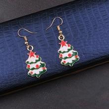 Cute Enamel Christmas Tree Gift Earrings Drop Dangle Decoration Jewelry For Women Girls Teens Ornaments Accessories new arrival cute animal enamel girl drop earrings for women girls jewelry birthday gift trendy metal fox earring