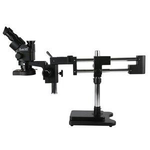 Image 5 - 3.5X 90X 180X simul odak çift Boom standı trinoküler Stereo yakınlaştırmalı mikroskop 38MP 2K HDMI USB kamera 144 LED ışık microscopie
