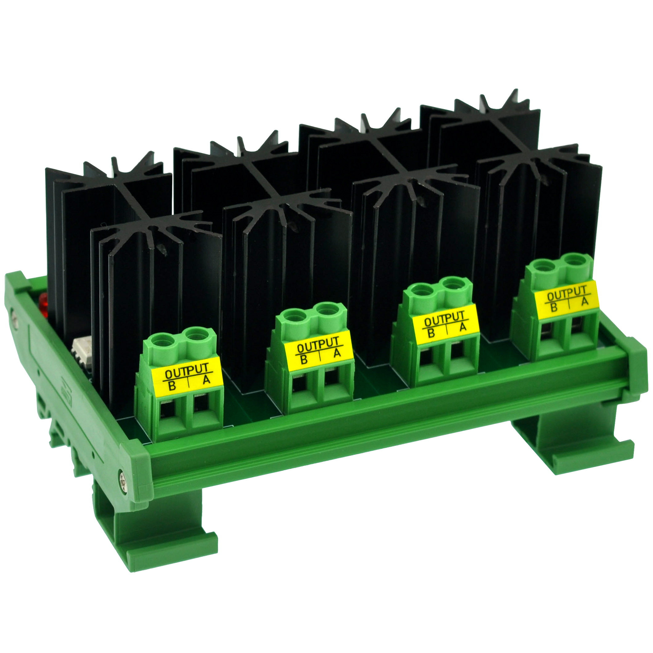CZH-LABS DIN Rail Mount 12 Amp Solid State Relay SSR Module, In 4~32VDC, Out 100~240VAC. (4 Channels)